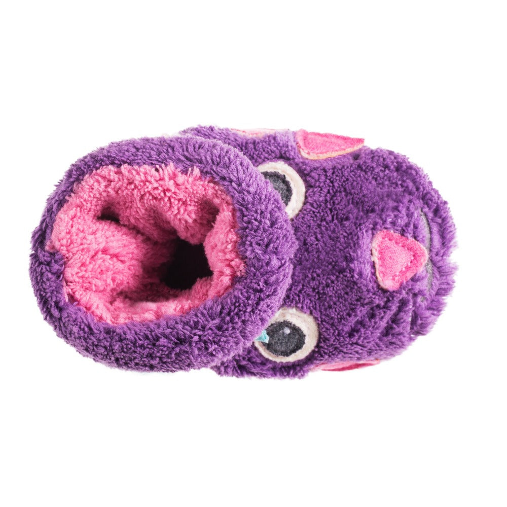 Toddler's Critter Booties in Kitty Inside Top View