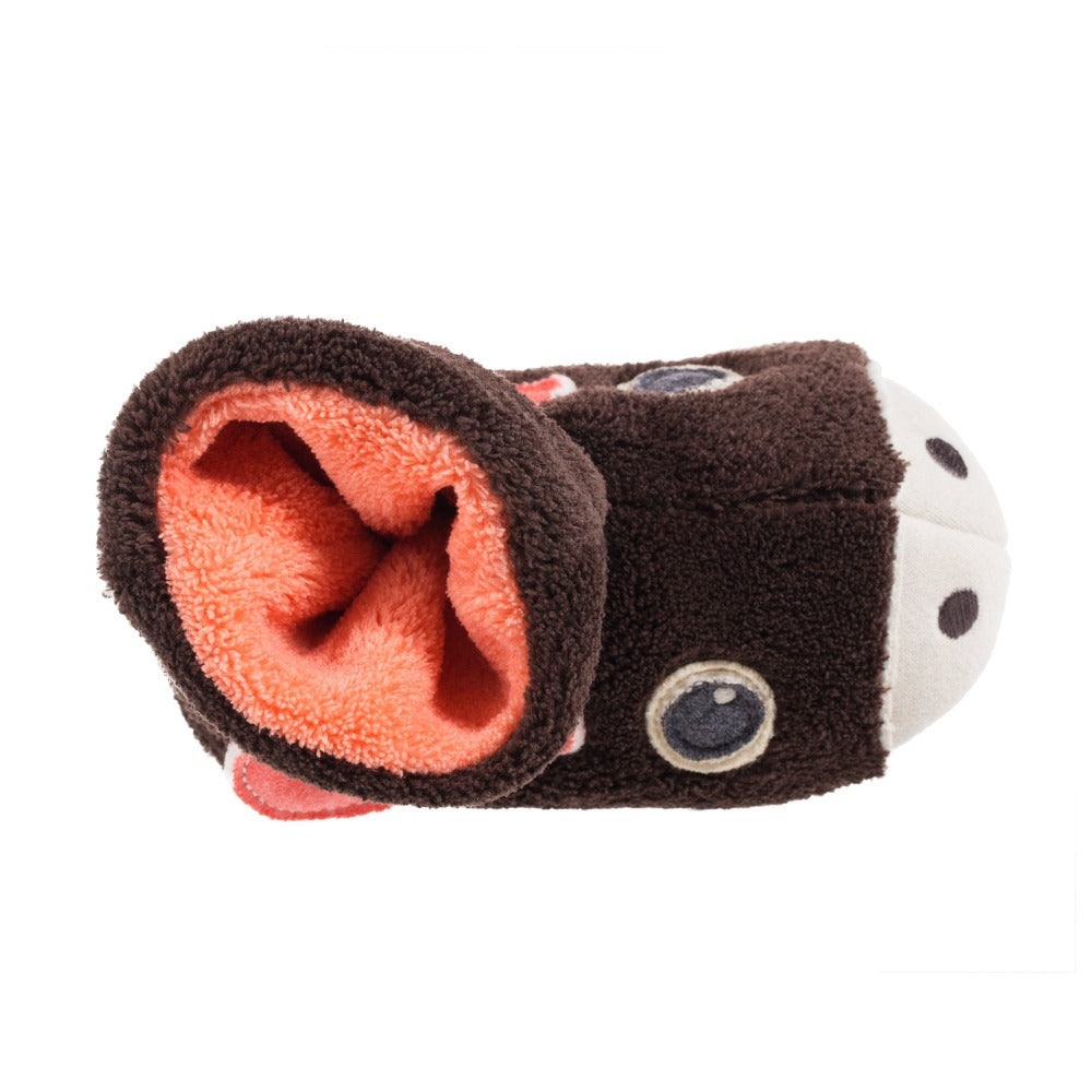 Toddler's Critter Booties in Moose Inside Top View