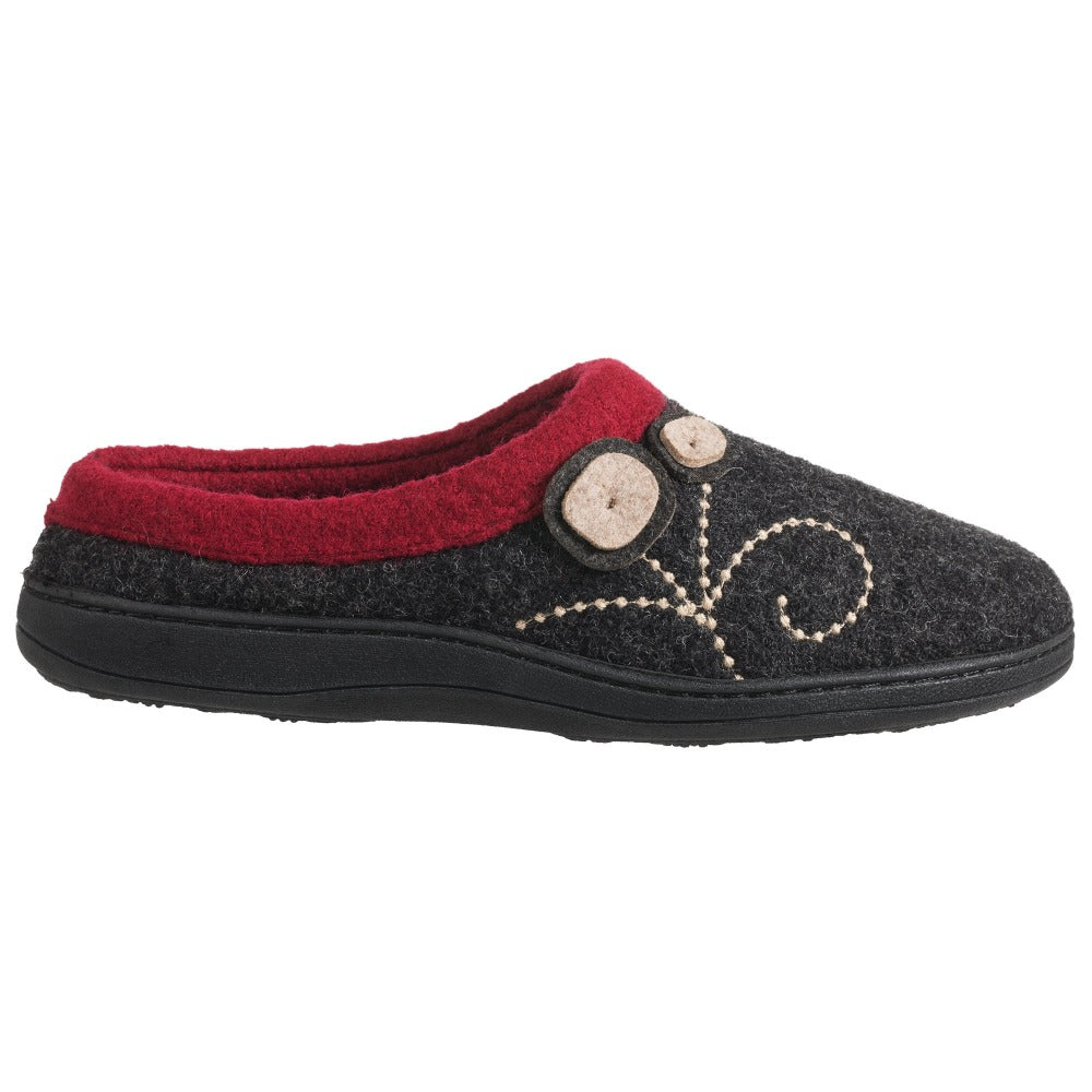 Women's Dara Boiled Wool Slippers Charcoal Button Profile
