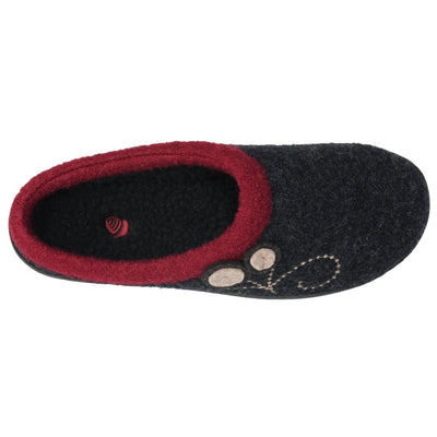 Women's Dara Boiled Wool Slippers in Charcoal Button Inside Top View