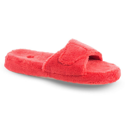 Women's Spa Slide Slippers in Lobster Red Right Angled View