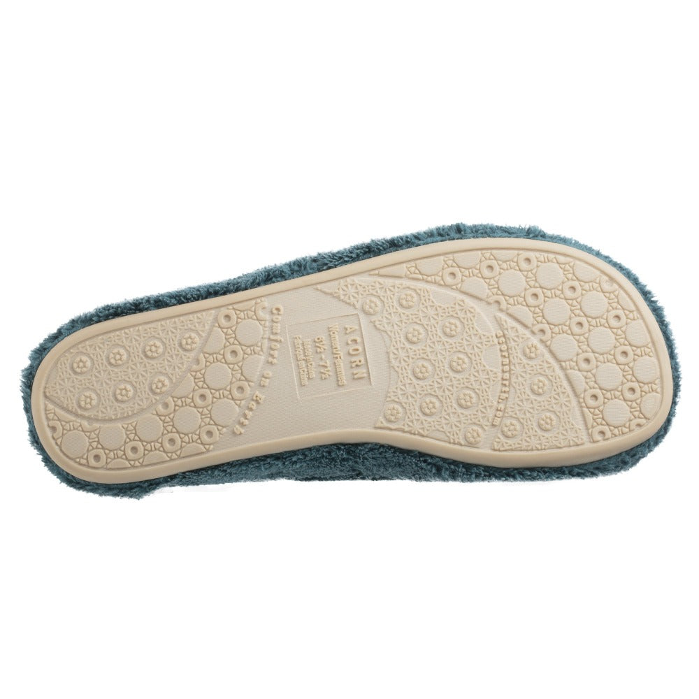 Women's Spa Slide Slippers in Peacock Bottom Sole Tread
