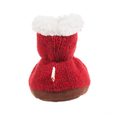 Toddler's Ragg Wool Booties in Red Ragg Wool Back Heal