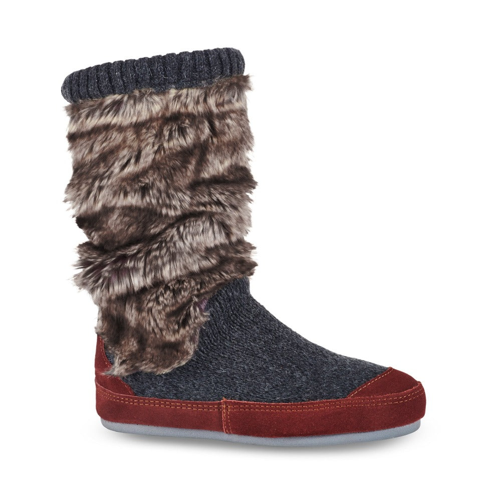 Women's Slouch Boots in Charcoal Faux Fur Right Angled View