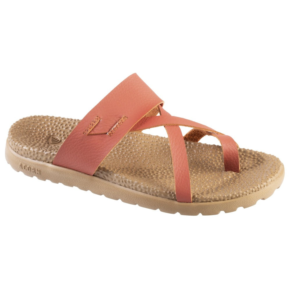 Acorn Riley Sandal in Orange Leather Side Angle View
