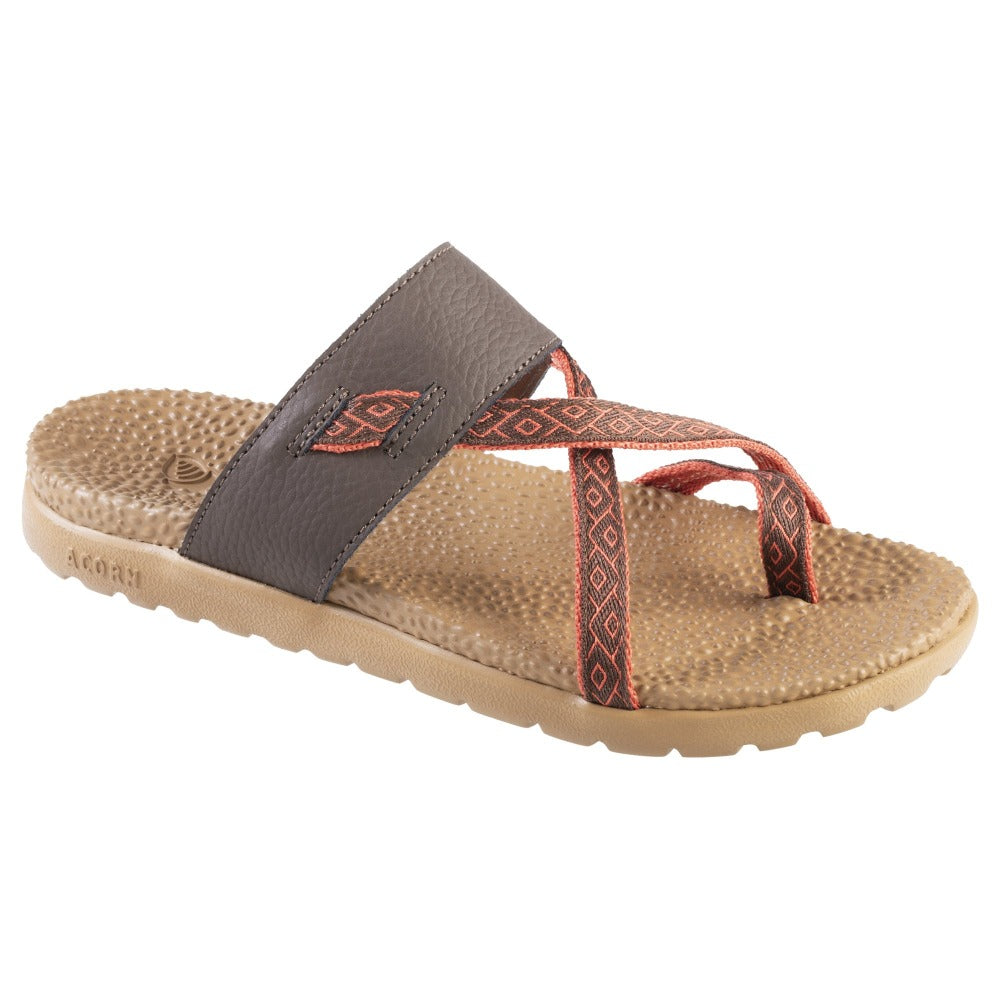 Acorn Riley Sandal in  Brown with orange straps  Angle View