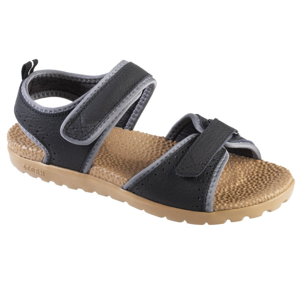 Acorn Women's Grafton Sandal Black with Adjustable Straps