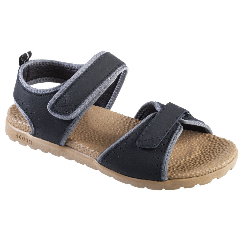 Acorn Men's Grafton Sandal with Adjustable Straps in Black Angle View