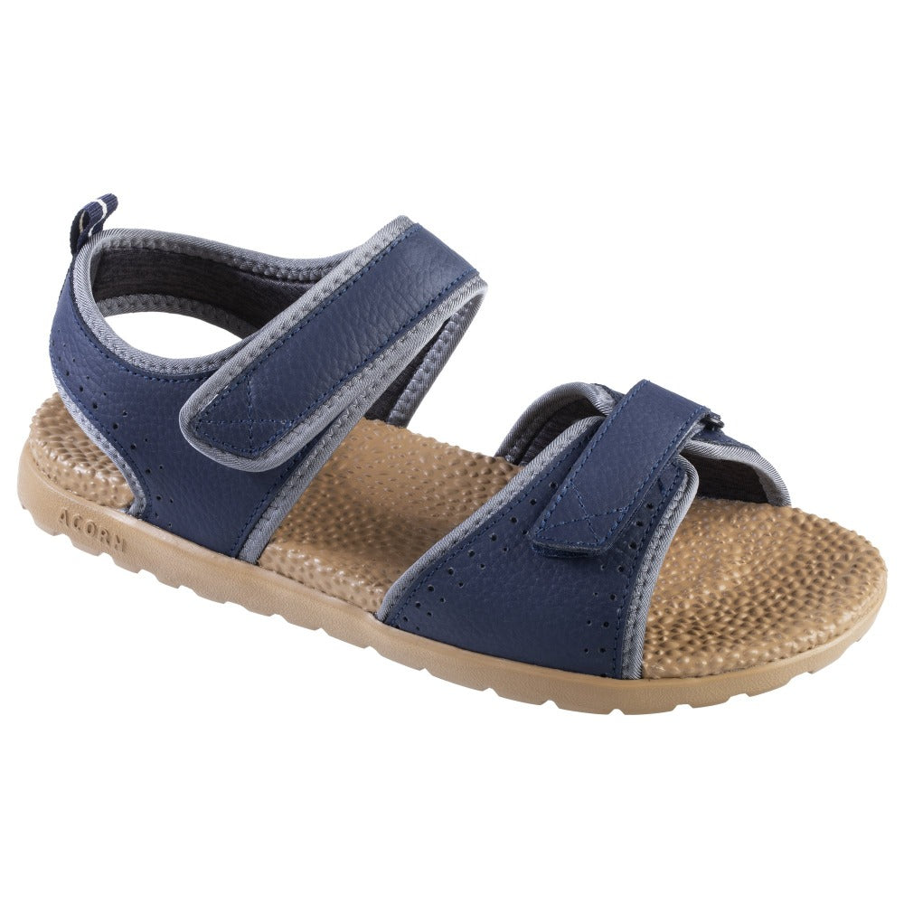 Acorn Men's Grafton Sandal with Adjustable Straps in Navy Angle View