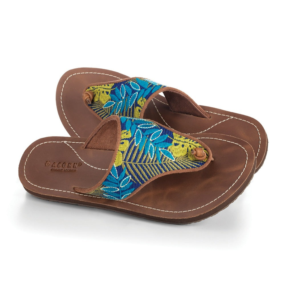 Women's Artwalk Embroidered Sandals in Blue Jungle Pair