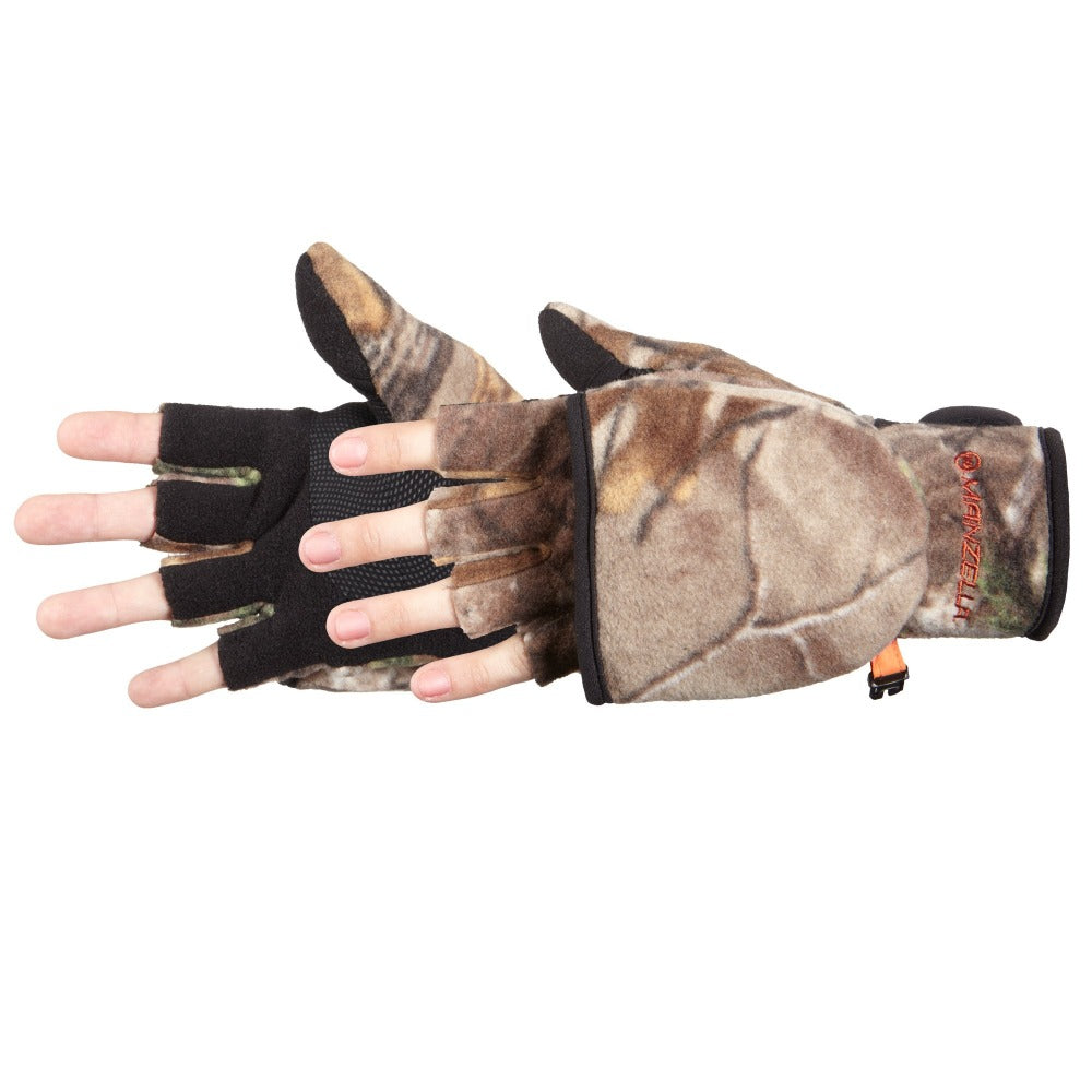 Kid's Bow Hunter Convertible Hunting Gloves Pair Side Profile