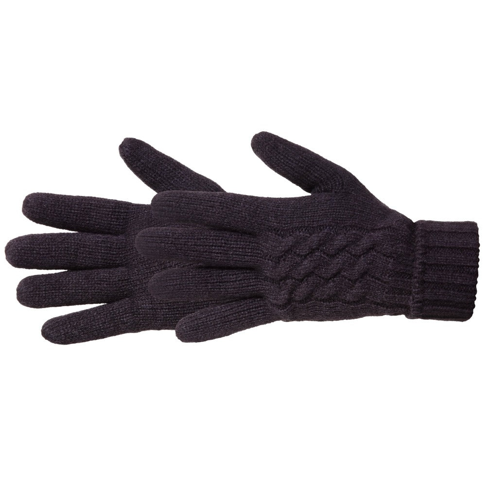 Women's Cable Knit Outdoor Gloves in Black Side Profile