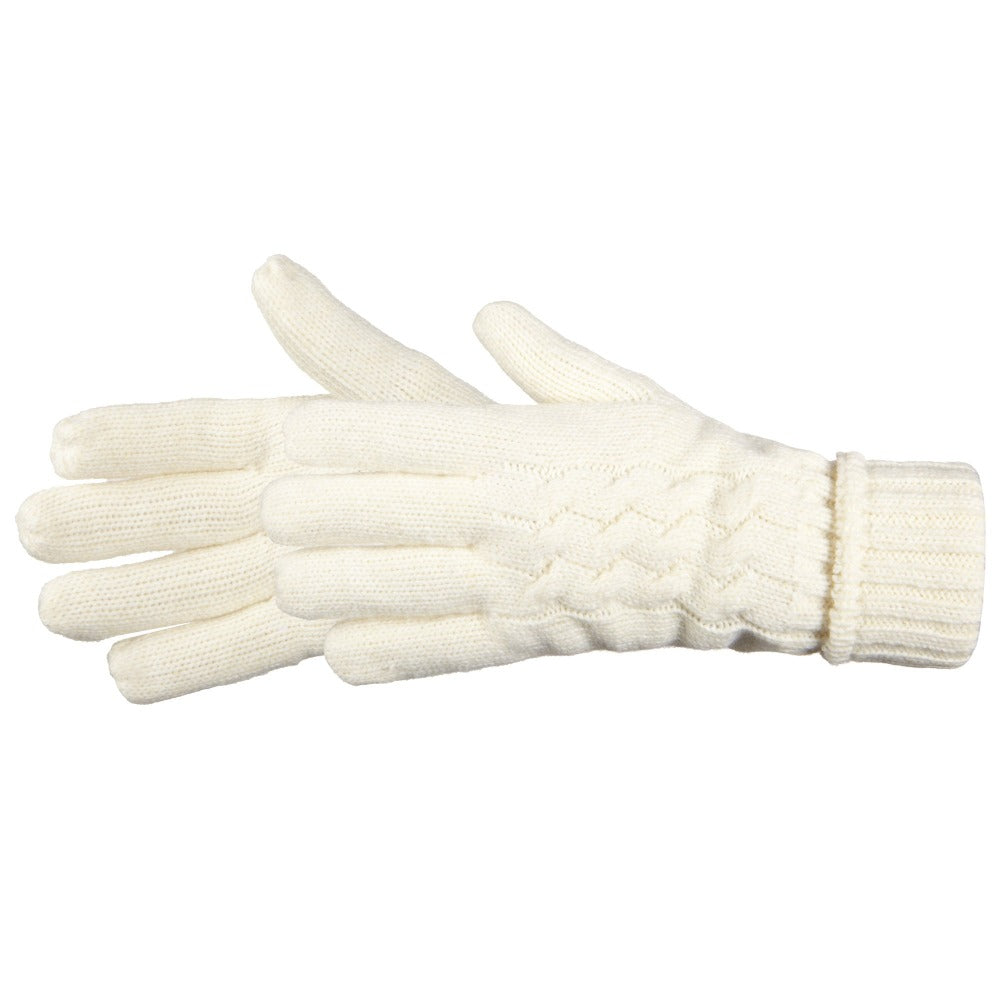 Women's Cable Knit Outdoor Gloves in Ivory Side Profile