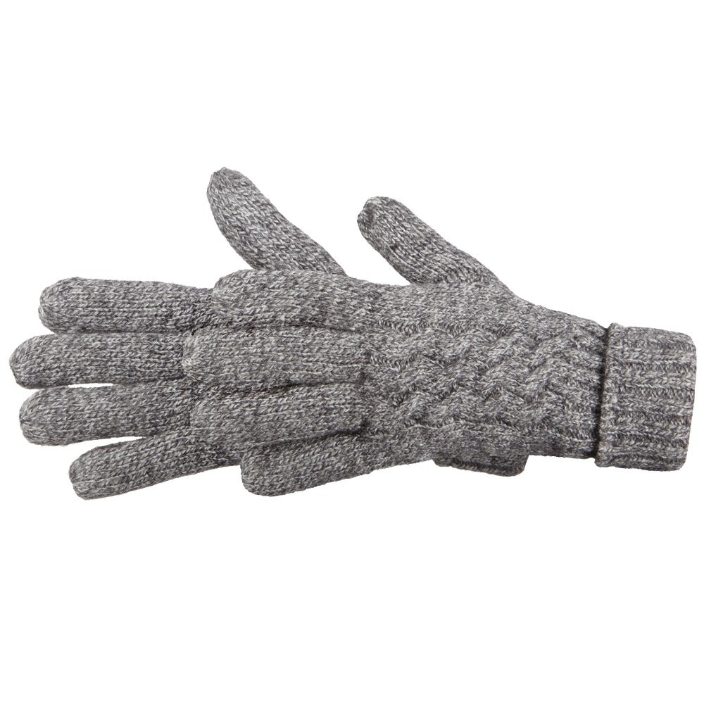 Women's Cable Knit Outdoor Gloves in Oxford Heather Side Profile