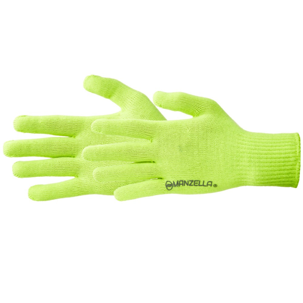 Women's Max-10 Liner Outdoor Glove Liners in Yellow Hiviz Pair Side Profile