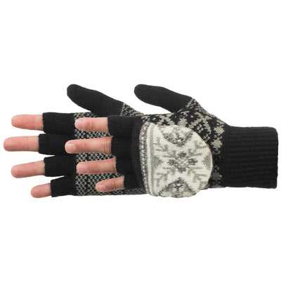 Women's Snowstar Convertible Gloves in Black Paid On Figure Side Profile
