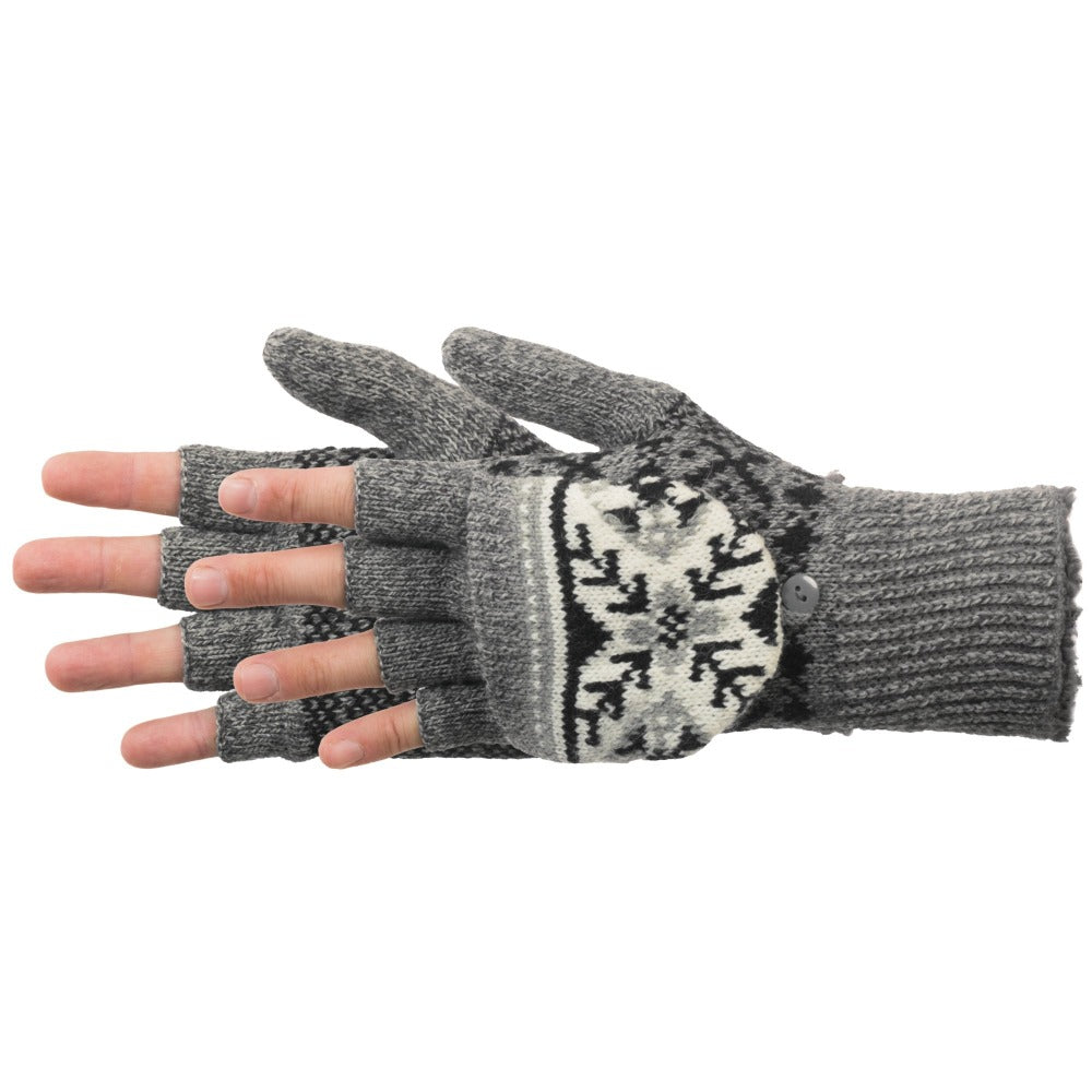 Women's Snowstar Convertible Gloves in Oxford Heather Paid On Figure Side Profile