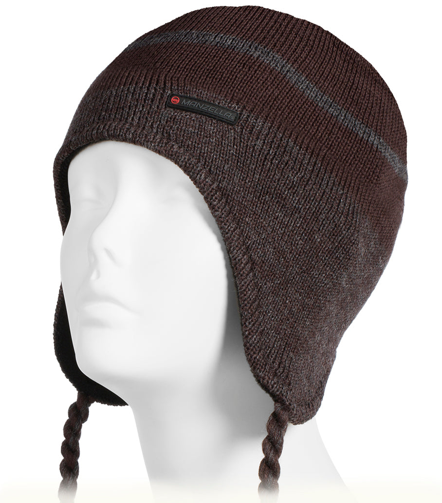 Men's Stripe Peruvian Hat in Bark Brown on mannequin