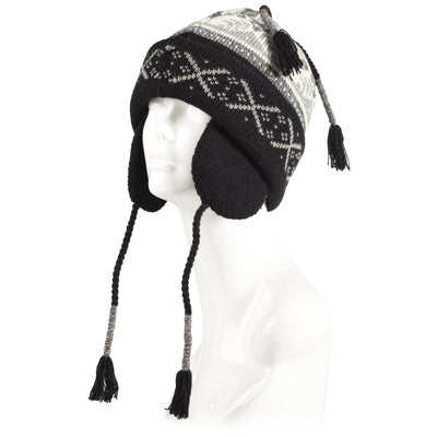 Women's Snow Star Hat in Black Left Angled View