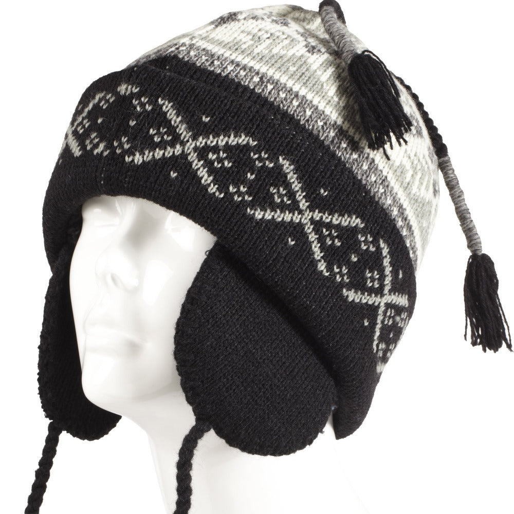 Women's Snow Star Hat in Black Left Angled View Close Up