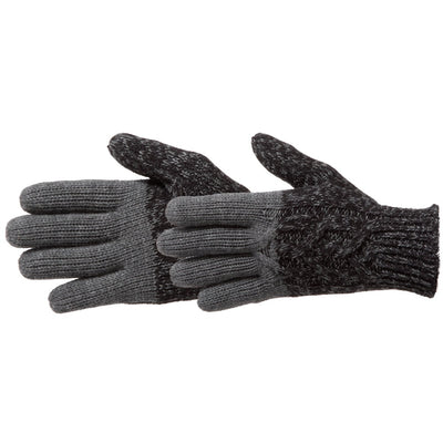 Women's Colorblocked Cable Knit Gloves in Black Pair Side Profile