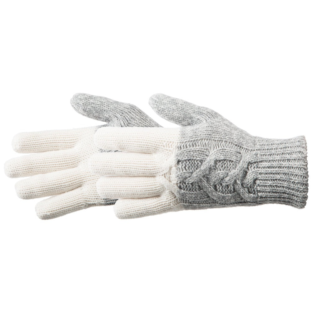 Women's Colorblocked Cable Knit Gloves in Ivory Pair Side Profile