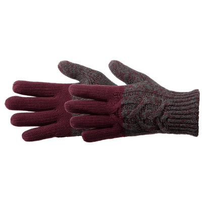 Women's Colorblocked Cable Knit Gloves in Port Pair Side Profile