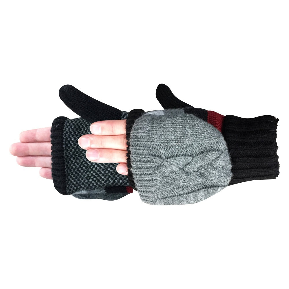 Women's Striped Knit Convertible Gloves in Black Pair On Figure