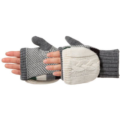 Women's Striped Knit Convertible Gloves in Heather Grey Pair On Figure