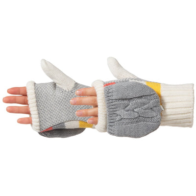 Women's Striped Knit Convertible Gloves in Ivory Pair On Figure