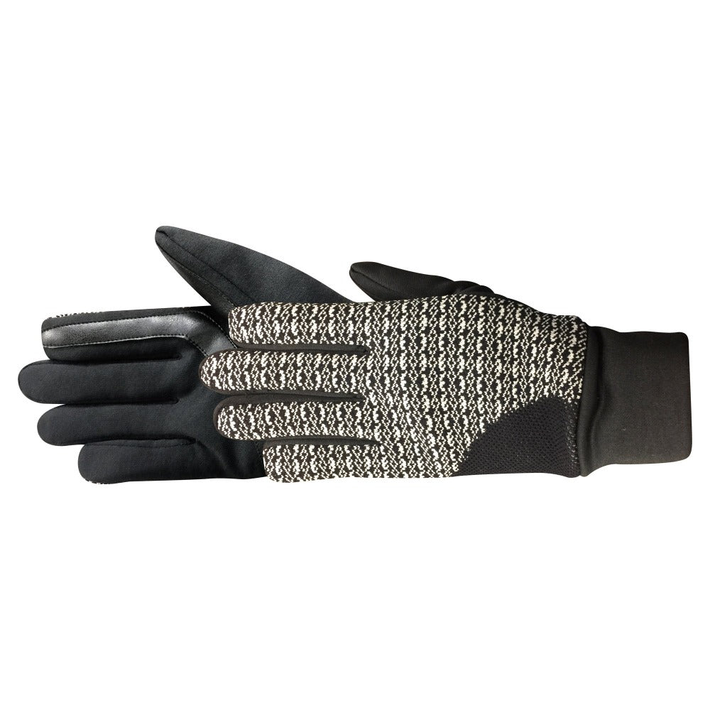 Women's Shelby TouchTip Glove in black with white geo print pair side profile