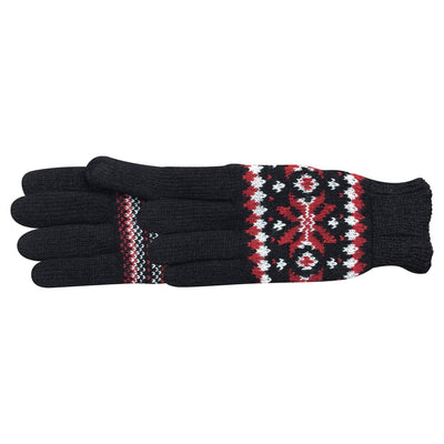 Women's Crystal Glove in Black with white and red fairisle print pair side profile