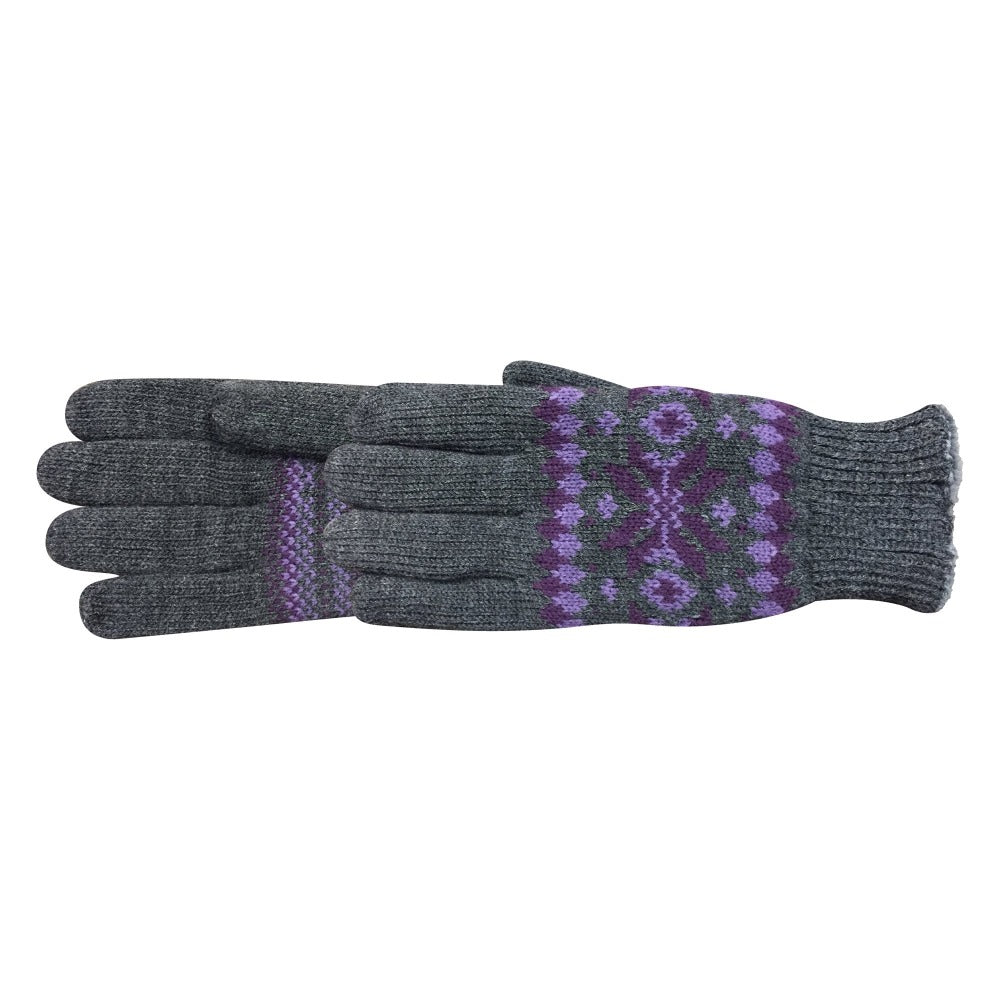 Women's Crystal Glove in Heather with light and dark purple fairisle print pair side profile