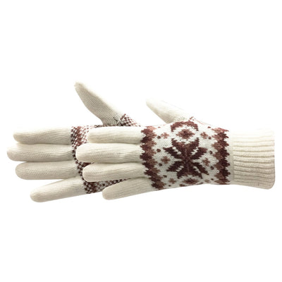 Women's Crystal Glove in ivory with brown and tan fairisle print pair side profile
