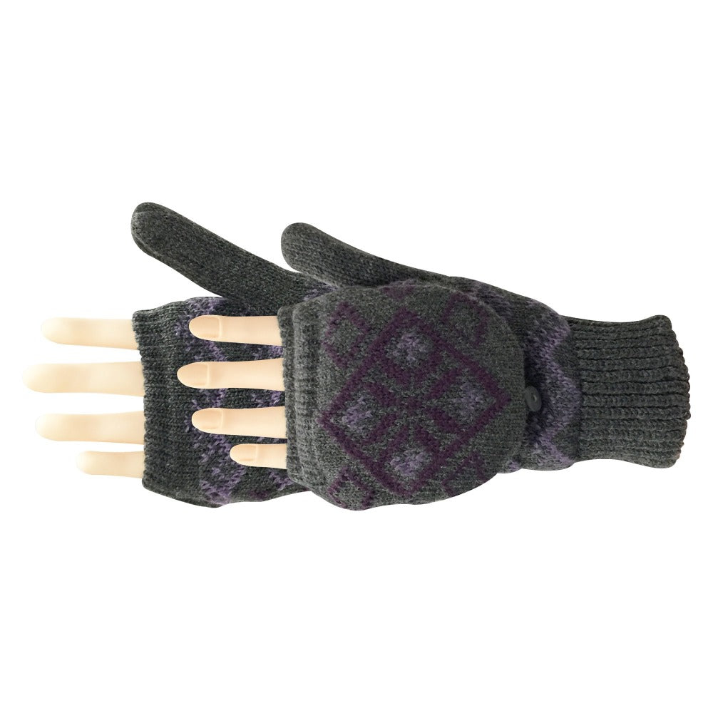 Women's Diamond Convertible Glove in Heather grey with purple diamond design pair side profile
