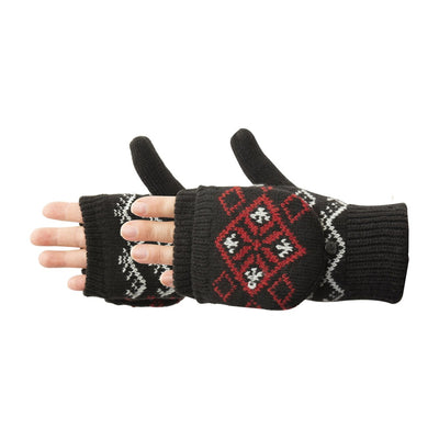 Women's Diamond Convertible Glove in Black with grey and red diamond design pair side profile