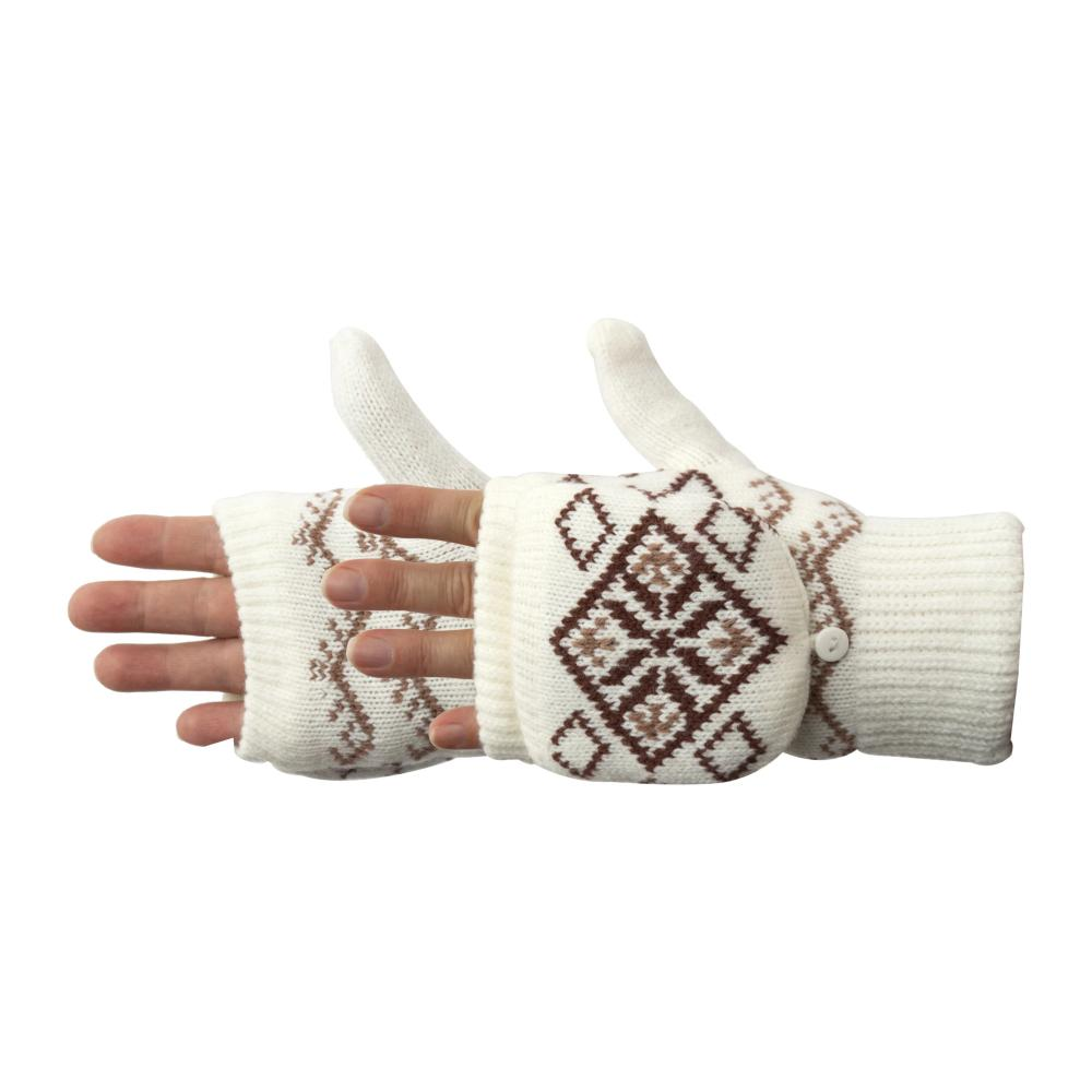 Women's Diamond Convertible Glove in Ivory with brown and tan diamond design pair side profile