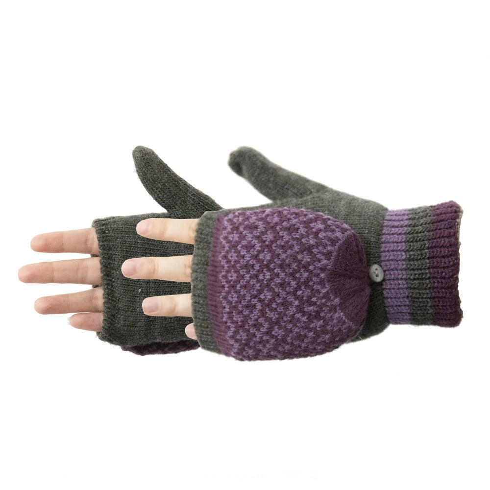 Women's Arctic Convertible Gloves pair in Heather Grey with purple details side profile