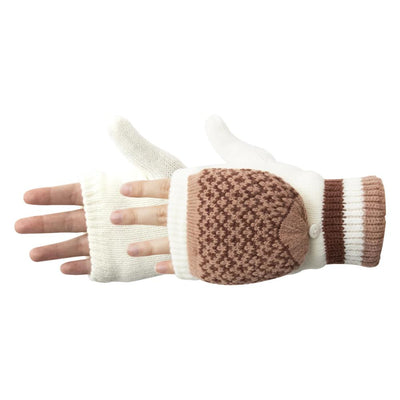 Women's Arctic Convertible Gloves pair in Ivory with brown and tan details side profile