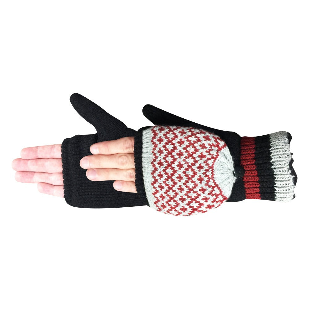 Women's Arctic Convertible Gloves pair in Black with red details side profile