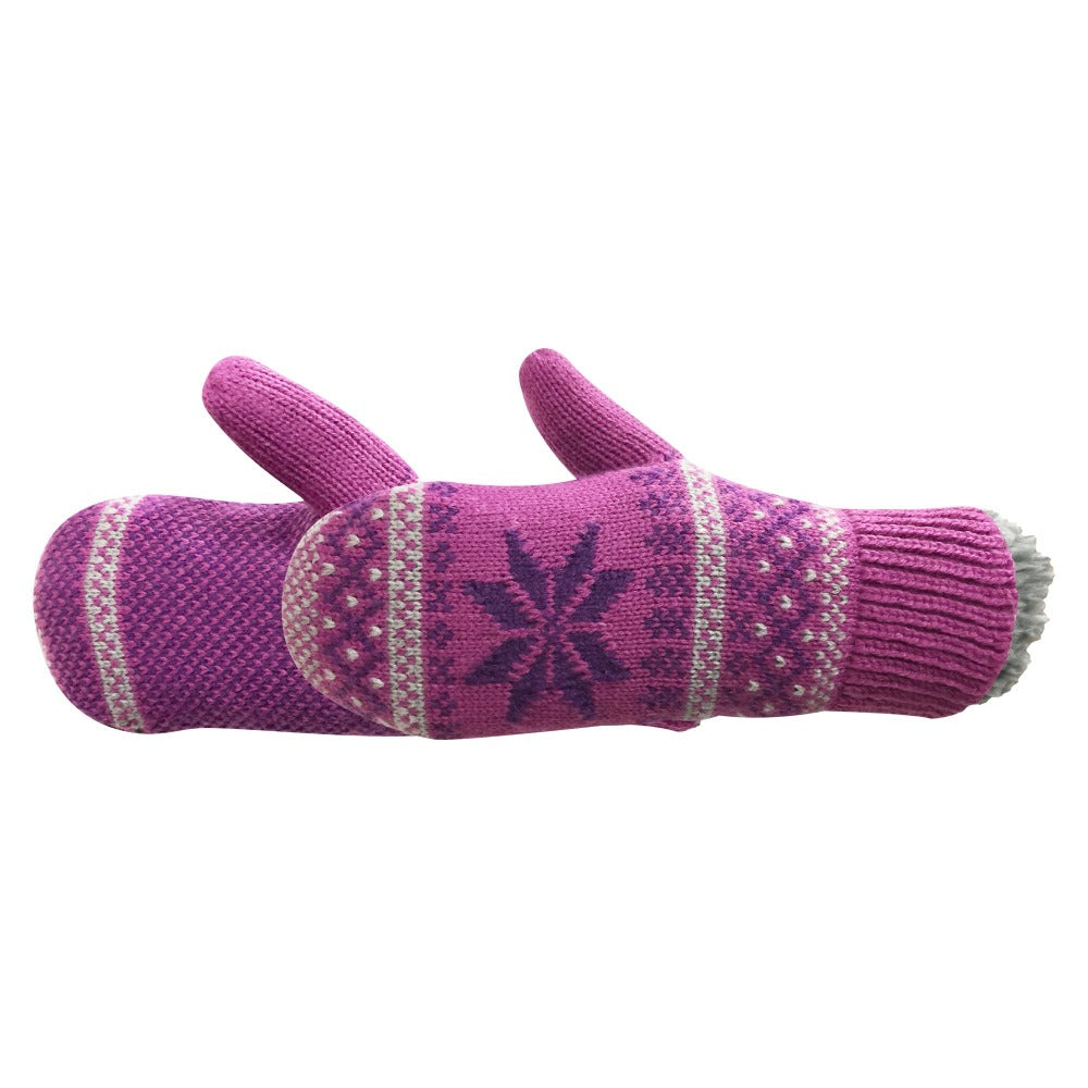 Kid's Powder Mitten pair in pink with purple detailing side profile