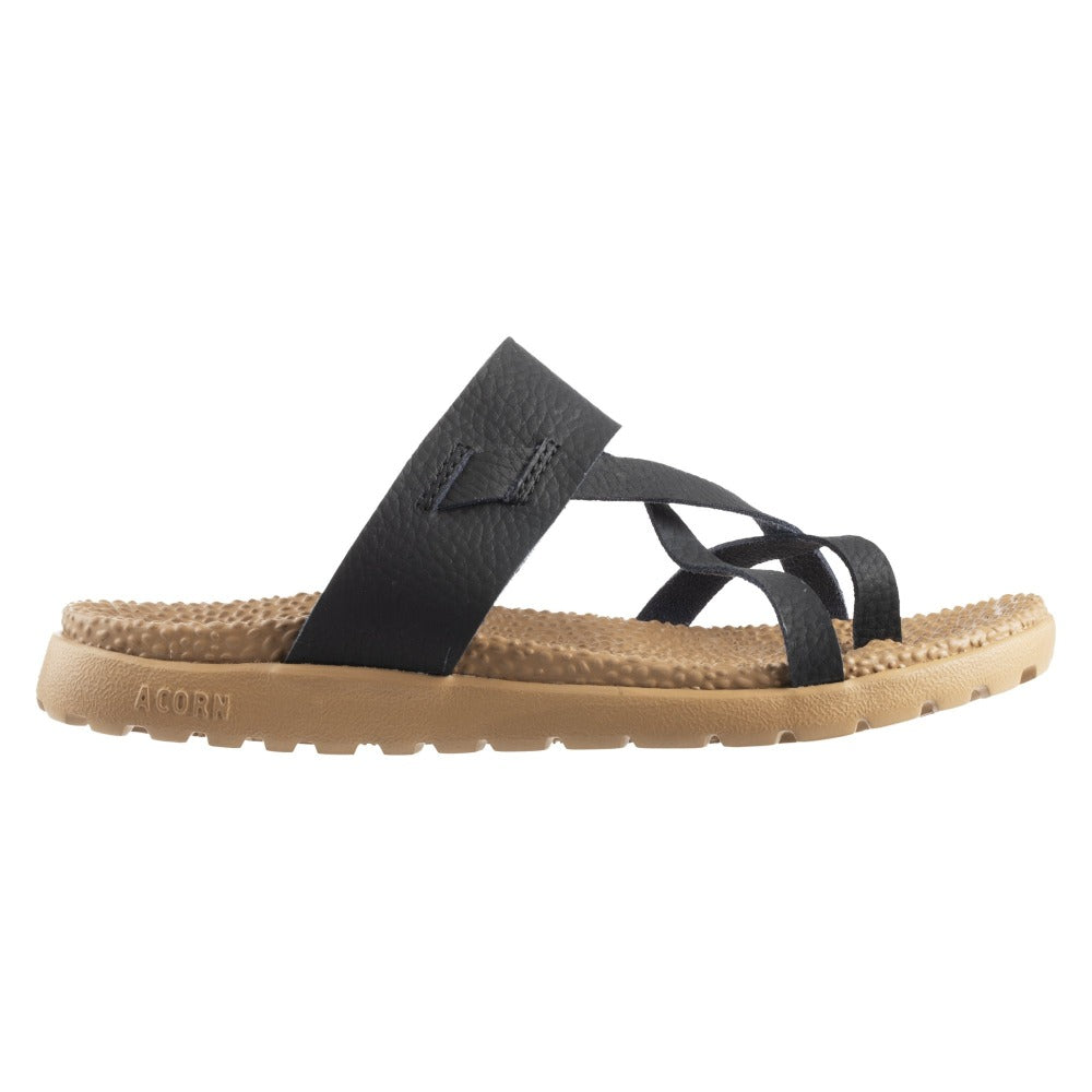 Acorn Riley Sandal in Black Side Angle View