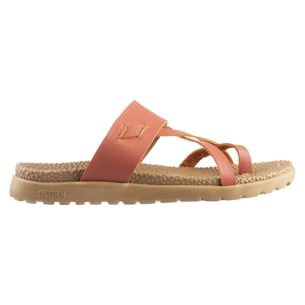 Acorn Riley Sandal in Orange Side Profile View