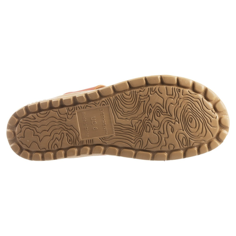 Acorn Riley Sandal in Orange Outsole View with Topography Map