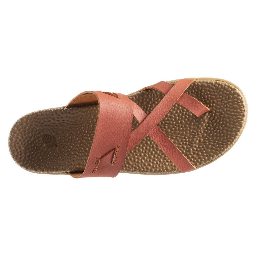 Acorn Riley Sandal Orange Leather Top Down View