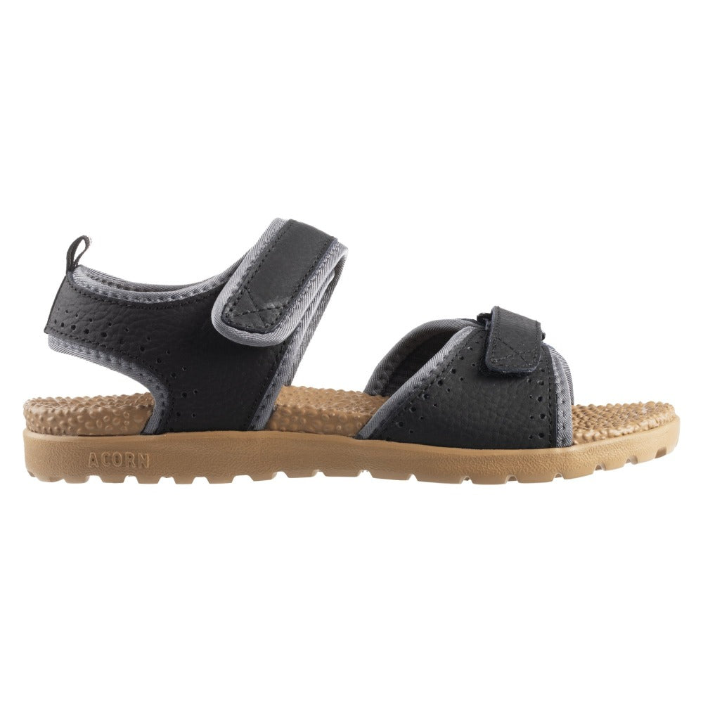 Acorn Men's Grafton Sandal with Adjustable Straps in Black Profile View