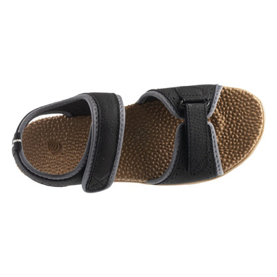 Acorn Men's Grafton Sandal with Adjustable Straps in Black Top Down View