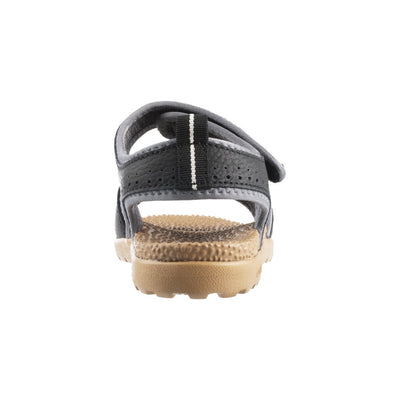 Acorn Men's Grafton Sandal with Adjustable Straps in Black Back Heel View