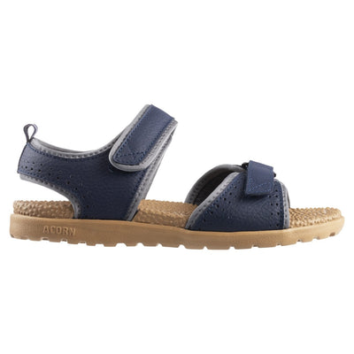 Acorn Women's Grafton Sandal Navy Blue with Adjustable Straps Side Profile View