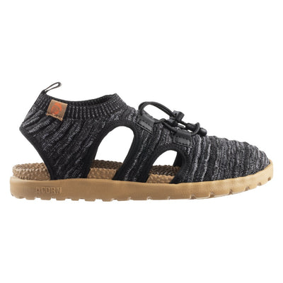 Acorn Casco Recycled Knit Sandal in Black with Bungee Closure